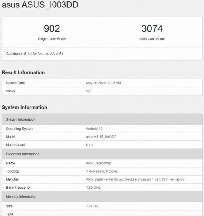 Asus Rog Phone 3 Geekbench