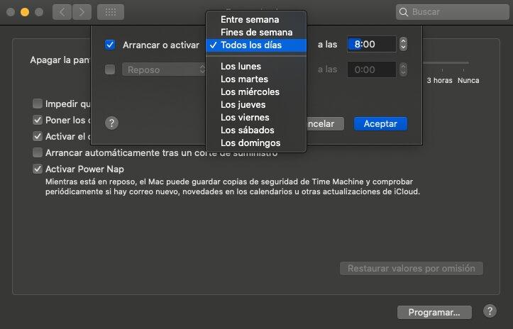 programar el apagado y encendido del Mac 1