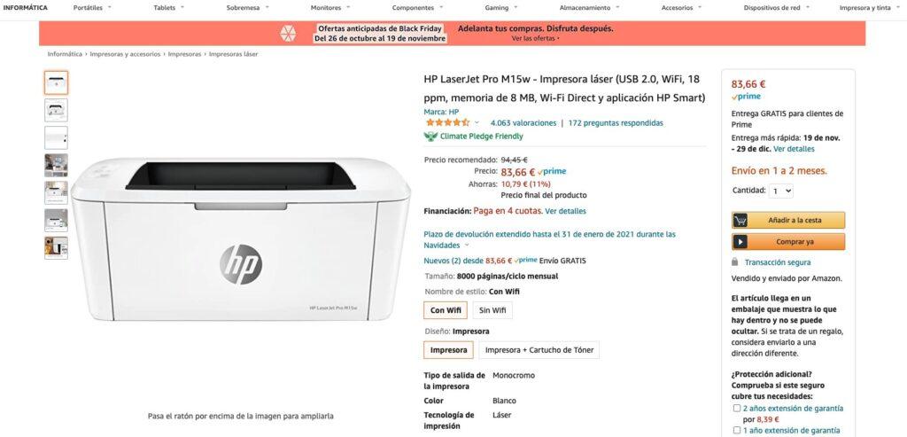 HP impresora oferta Amazon