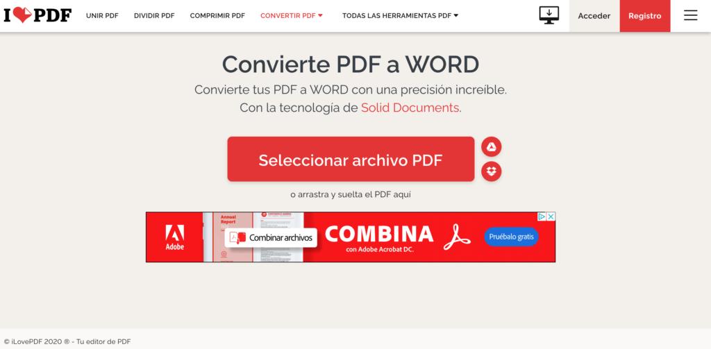 PDF a Word ilove